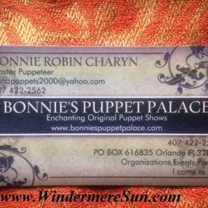 Bonnie's Puppet Palace of Bonnie Robin Charyn-Business Card (credit: Windermere Sun-Susan Sun Nunamaker)