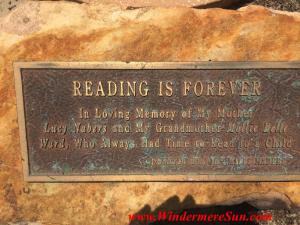 "Windermere Library ""Reading Is Forever"" plaque (credit: Windermere Sun-Susan Sun Nunamaker)"