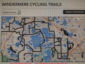 Windermere biking trails (credit: Windermere Sun-Susan Sun Nunamaker of www.WindermereSun.com & www.mapmyride.com/us/windermere-fl/)