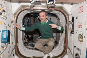Chris Hadfield celebrating in the Space Station