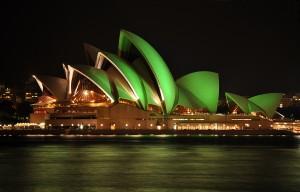 Sydney's Opera House on St. Patrick's Day