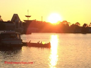 Sunset by lake at Epcot (credit: Windermere Sun-Susan Sun Nunamaker)