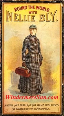 Cover of the 1890 board game Round the World with Nellie Bly