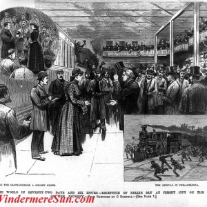 A woodcut image of Nellie Bly's homecoming reception in Jersey City printed in Frank Leslie's Illustrated News on Feb. 8, 1890