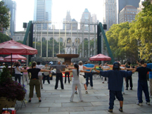 Qigong practitioners at World Tai Chi and Qigong Day even t in Manhatten (public domain)