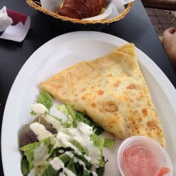 My French Cafe-veggie crepe, ham-andegg-cheese croissant