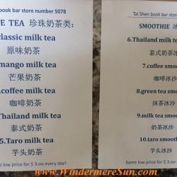 Tai Shen Book Bar bubble tea menu (credit: Windermere Sun-Susan Sun Nunamaker)