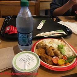 Disney-teriyaki chicken combination plate meal with plate of food, water, and green tea ice cream (credit: Windermere Sun-Susan Sun Nunamaker)