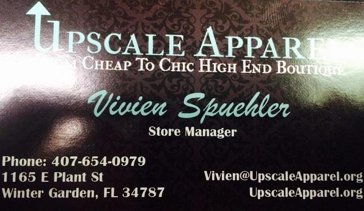 Upscale Apparel at 1165 E. Plant St., Winter Garden, FL, 407-654-0979 (credit: Windermere Sun-Susan Sun Nunamaker)