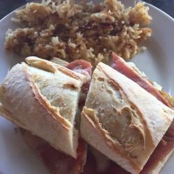 Le Cafe de Paris-breakfast sandwich with ham