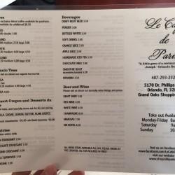 Menu1 of Le Cafe de Paris, 5170 Dr. Phillips Blvd., Orlando, FL , 407-293-2326