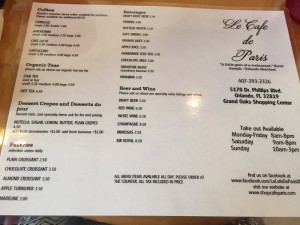 Menu4 of Le Cafe de Paris, 5170 Dr. Phillips Blvd., Orlando, FL , 407-293-2326