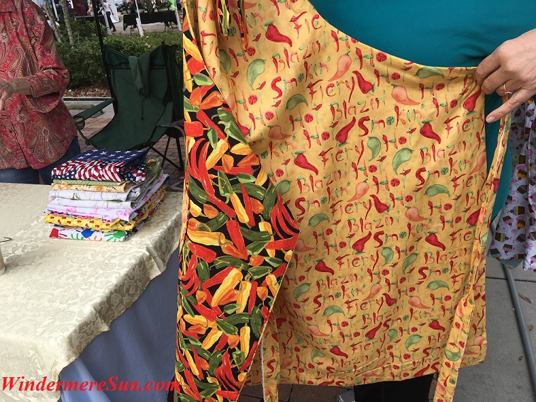 Reversible apron pattern of Little Penny Creations at Winter Garden Farmer's Market (photographed by Windermere Sun-Susan Sun Nunamaker)