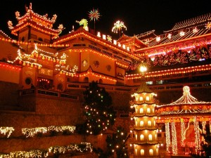Chinese New Year-The Ke Lok Si Temple in Penang, Malaysia, brightly illuminated in the nights following Chinese New Year by Flying Pharmacist