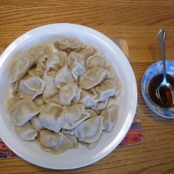 Chinese New Year-boiled dumplings (with soy-sauce based dipping sauce on the side) attribution Bioniclepluslotr
