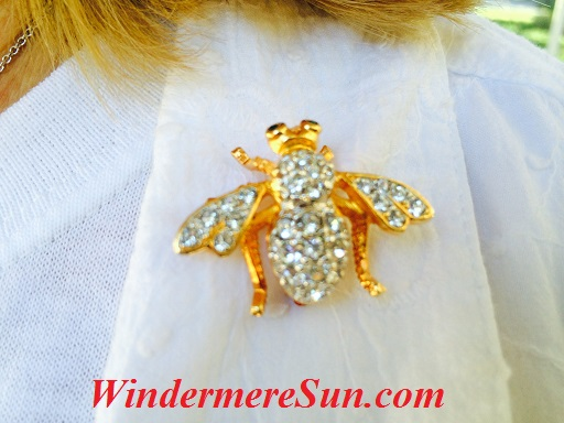 Honey bee worn by Jean Vasicek (photographed by Windermere Sun-Susan Sun Nunamaker)