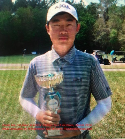 Jason Jin (our very own Windermere native), 1st place at Jacksonville Junior Shootout of Hurricane Junior Golf Tour-Boys 16-18 Division (credit: HJGT)