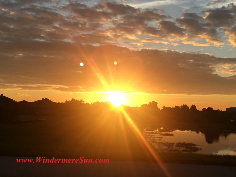 Sunset-sun rays intense center