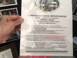 Information about service opportunities at Nehrling Garden (during 12th Annual Windermere Treebute on Jan. 16, 2016) (credit: Windermere Sun-Susan Sun Nunamaker)