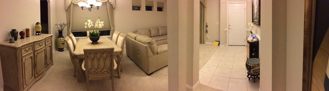 Panaramic View of Entrywaay-Living Room-Dining Room (photo credit: Windermere Sun-Susan Sun Nunamaker)