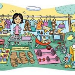 yard sale-garage.sale.scene.clipart
