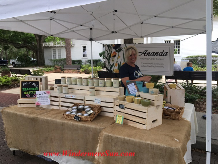 Teresa Baer Olive of Ananda Natural Soy Candles Company at Windermere Farmer's Market (credit: Windermere Sun-Susan Sun Nunamaker)
