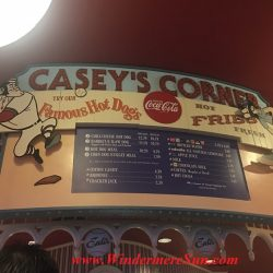 Casey's Corner, with its famous Casey's hotdogs inside Magic Kingdom. Many people got the same idea: Beautiful sunny day to visit Magic Kingdom (credit: Windermere Sun-Susan Sun Nunamaker)