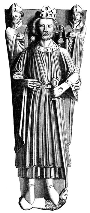 A drawing of the effigy of King John in Worcester Cathedral