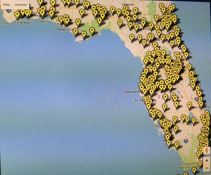 Vote Early Map of Florida