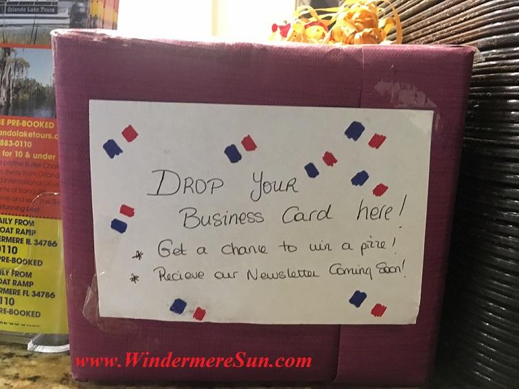 Raffle box of My French Cafe (credit: Windermere Sun-Susan Sun Nunamaker)