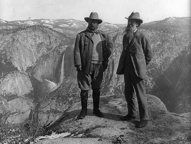 Theodore Roosevelt (L) and John Muir (R) in Yosemite National Park, c. 1906