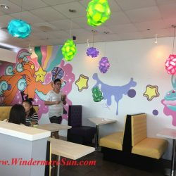 Quickly Boba & Snow-wall mural & new seats (credit: Windermere Sun-Susan Sun Nunamaker)