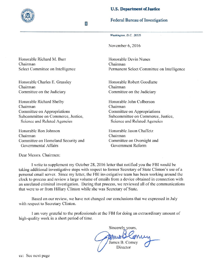 FBI Director James B. Comey's letter to members of Congress.