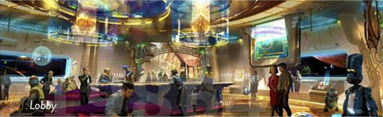 Star Wars Land starship resort hotel lobby final